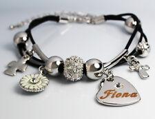 FIONA Cuir Charme Bracelet 18k Plaqué Or - Mariage Élégant Accessoires Cadeau