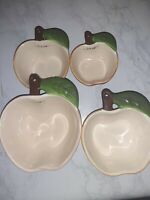 Vintage Ceramic Apple Measuring Cups/Wall Decor Set Of 4 1/4 Cup To 1 Cup