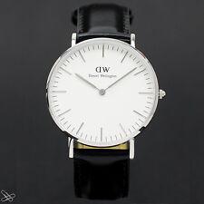 Daniel Wellington Sheffield 0608dw reloj plata esfera blanca cuero negro