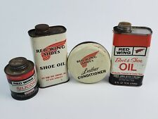 Vintage Red Wing Boots Collectible Tin Lot Shoe Oil w/ Irish Setter Dog on rear
