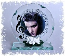 Elvis Presley Cut Glass Round Plaque Frame Music Fan Limited Edition  #1