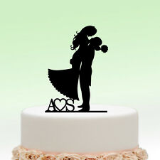 Cake Topper Personalized Initial Name Heart Wedding Couple Groom Bride Custom