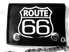 BRAND NEW BIKER GOTH BLACK LEATHER TRIFOLD ROUTE 66 CHAIN  WALLET