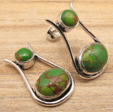 925 Silver Plated Cab GREEN COPPER TURQUOISE UNUSUAL Studs Posts Earrings