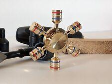 Fidget Spinner in Ottone Massiccio 107gr, 6 Ali Estraibili, Esagonale, Ruota