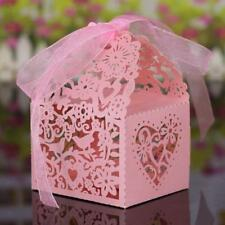 20Pcs Hollow Out Bird Candy Chocolate Box Wedding Party Favour Gift Bag Pink