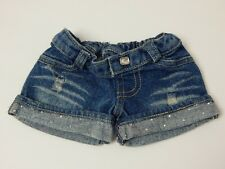 Build A Bear ~ Denim Cuffed Shorts w/Rhinestones