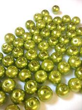 Perline sfuse di vetro verde rotondi
