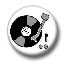 Record Player 1 Inch / 25mm Pin Button Badge Music LP's Vinyl Retro Vintage Cool