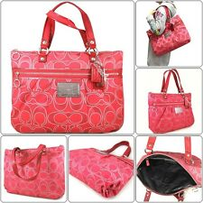 Coach Poppy Signature Lurex Glam Large Tote Shoulder Bag 15389