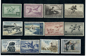 US COLLECTION OF (12) TWELVE Used & Unused / No Gum FEDERAL DUCK STAMPS