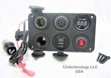 Battery 12V Voltmeter, Switch, 4.8A USB Charger, Voltage Alarm,, Plug & Socket