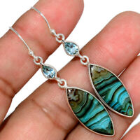 Mexican Laguna Lace & Blue Topaz 925 Sterling Silver Earrings Jewelry AE156238