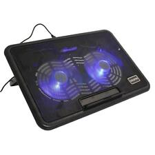 """10""""-15"""" Laptop PC 2 Fan USB LED Air Cooler Cooling Foldable Stand Pad Black"""