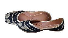Leather Women Flat traditional Punjabi jutti Indian Mojari Khussa Flip Flops US8