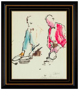 LeRoy Neiman Original Color Ink Drawing Hand Signed Paris France Portrait Art