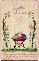 ARTS & CRAFTS Deco Easter~TWIN RABBITS w/ LILIES & COLORED EGGS~Bergman Postcard