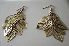BEAUTIFUL FASHION JEWELLERY GOLD DANGLE LEAF EARRINGS