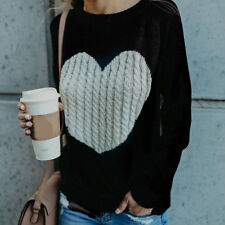Women Winter O-neck Long Sleeve Heart Knitted Sweater Long Sleeve Loose Pullover