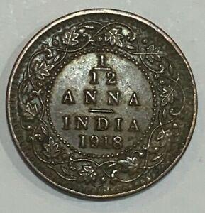 1918 British India 1/12 Anna KGV Coin