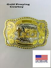 WESTERN PRAYING COWBOY RODEO FAITH CROSS LONG GOLD SHINY  BELT BUCKLE US SELLER