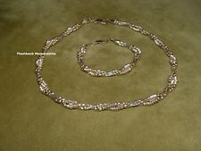 Gorgeous FAS ITALY Sterling Silver NECKLACE & BRACELET .925 BRAIDED Liquid Beads