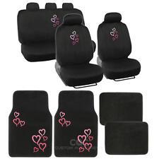 13 Pc Interior Set - Car Seat Covers & Carpet Car Floor Mat - Pink Design Design