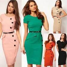 Ladies Retro Evening Bodycon Career Business Party Work pencil Dress Sheath Sale