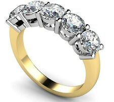 1.00CT ROUND 5 STONE ANNIVERSARY RING 925 STERLING SILVER GOLD PLATED JEWELRY