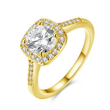 18 k Gold Plated Diamond Shine Zircon Square bridal ring 18 mm size Q FR212