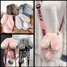 4 in 1 Rabbit Fluffy Plush Soft Phone Cases + Strap + 2 Glass Screen Protector L