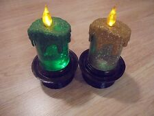 "Adorable Set of 2 Gold & Green Lighted Glittered Christmas 6"" Lanterns"