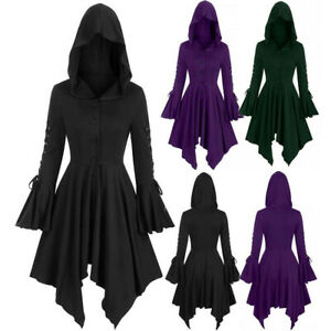 Women Gothic Hooded Cloak Coat Halloween Steampunk Medieval Hoodie Pullover Tops