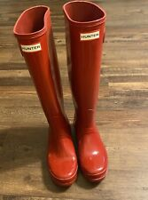 Hunter Women's Tall Rain Boots Gloss Red 8 Medium Preowned