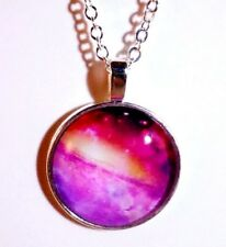 Pink Galaxy Pendant 28mm cabochon on silver plated necklace JoMacDesign
