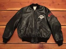 VTG🔥 DeLong NHL Los Angeles Kings Letterman Leather Jacket Sz 44 Men's Zip USA