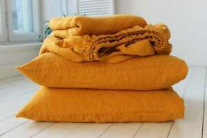 Stonewashed Organic 100% Linen Flat Fitted Sheets Set 4pc Turmeric Full Double