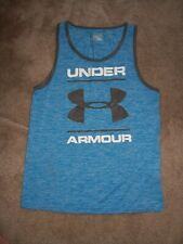 Mens Under Armour Blue Tank Shirt Size Small Loose Fit