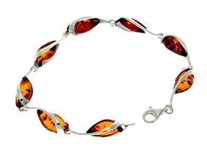 Beautiful Designer Silver Bracelet set with Baltic Amber - GL501