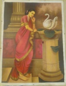 Indian Hand Painted Artist Raja Ravi Varma Damyanti Exquisite Miniature Painting