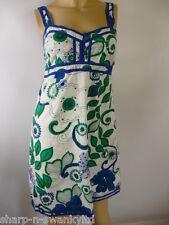 NEW LOOK Bianco Da Donna/Verde/Blu Floreale Con Cinghiette Abito Corto UK 10