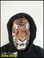 TIGER FULL HEAD MASK realistico Animale Stampato Lycra divertente costume