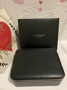YSL Yves Saint Laurent Black Vanity Case Train Faux Leather Travel Cosmetic Bag