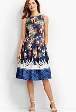 $170 NWT TALBOTS LADYS COTTON TROPICAL FLOWER PRINT LINED FLARE DRESS SIZE 4P