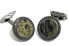 $995 John Hardy Silver 12mm Round Ruthenium Sapphire Apache Gold Cufflinks NWT