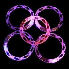 Random Colors Colorful Light-up Bangle Wristband LED Bracelets Acrylic