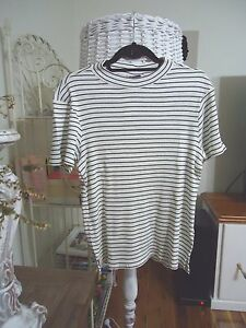 WAREHOUSE STRIPE RIBBED TURTLENECK TOP SIZE 14 NEW