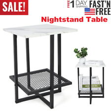 Modern Nightstand Faux Marble Side End Table Black Metal Frame Furniture Storage