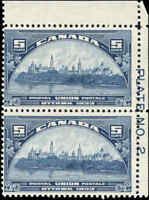 Mint NH Canada 5c 1933 Pair F+ Scott #202 UPU Meeting Issue Stamps