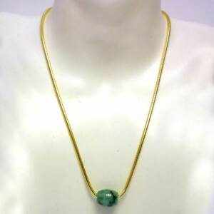 Natural Jade Bead Necklace on Sterling Silver Gold Chain, by Pearls Direct